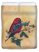 Scarlet Tanager - Acrylic Painting Duvet Cover