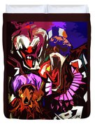 Scary Clowns Abstract Duvet Cover