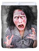 Scary Screaming Zombie Woman Duvet Cover