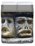 Scary Stone Heads Duvet Cover