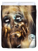Scary Zombie Pulling Funny Face  Duvet Cover