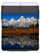 Scenic Teton Fall Reflections Duvet Cover