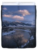 Scenic Twilight View Of The Yellowstone Duvet Cover