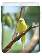 Scenic View Of An Adorable Yellow Parakeet Duvet Cover