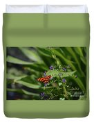 Scenic View Of An Orange Oak Tiger Butterfly Duvet Cover