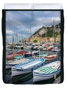 Scenic View Of Castle Hill And Marina In Nice, France Duvet Cover