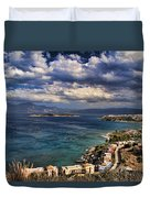 Scenic View Of Eastern Crete Duvet Cover by David Smith