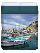 Scenic View Of Historical Marina In Nice, France Duvet Cover