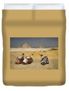 Scenic View Of The Giza Pyramids With Sitting Camels Duvet Cover