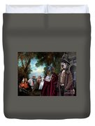 Schapendoes Art Canvas Print - Dance Before A Fountain Duvet Cover