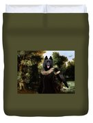 Schipperke Art Canvas Print - Forest Landscape With A Hunter And Noble Lady Duvet Cover