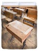 School Desks In A One Room School Building Duvet Cover