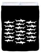 School Of Sharks Black And White Duvet Cover