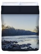 Schuylkill River Sunrise Linfield Pa Duvet Cover