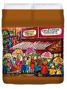 Schwartz's Deli Rainy Day Line-up Umbrella Paintings Montreal Memories April Showers Carole Spandau  Duvet Cover