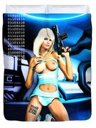 Sci-fi Topless Blonde With Gun On Spaceship Duvet Cover