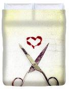 Scissors And Heart Duvet Cover