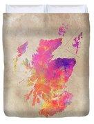 Scotland Map Duvet Cover