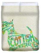 Scottish Terrier Dog Watercolor Painting / Typographic Art Duvet Cover