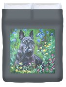 Scottish Terrier In The Garden Duvet Cover