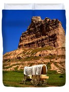 Scotts Bluff Wagon Train Panorama Duvet Cover