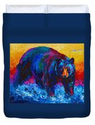 Scouting For Fish - Black Bear Duvet Cover