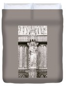 Sculpture Above North Entrance Of Westminster Abbey London Bw Duvet Cover