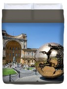 Sculpture In The Pinecone Courtyard Duvet Cover