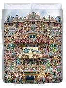 sculptures on Arulmigu Kapaleeswarar Temple, Chennai, Tamil Nadu Duvet Cover