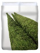 Sculpturesque Greenery - Three Cypress Trees Chiseled Against The Sky Duvet Cover