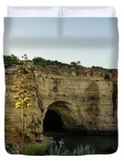 Sea Cave And Agave Bloom Spike - The Magic Of Algarve Portugal Duvet Cover