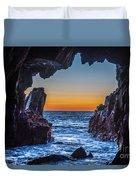 Sea Cave Sunset Duvet Cover