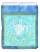 Flamingo Beach 1 - Turtle With Starfish  Duvet Cover