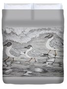 Sea Gulls Dodging The Ocean Waves Duvet Cover
