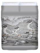 Sea Gulls Dodging The Ocean Waves Duvet Cover