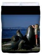 Sea Lion Sculpture  Duvet Cover