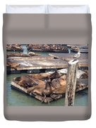 Sea Lions And Seagull Duvet Cover