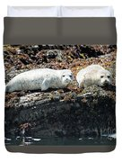 Sea Lions At Sea Lion Cove State Marine Conservation Area Duvet Cover