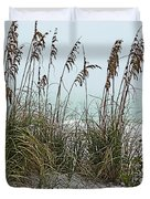 Sea Oats In Light Fog Duvet Cover
