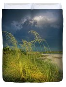 Sea Oats In The Storm Duvet Cover