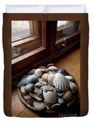 Sea Shells And Stones On Windowsill Duvet Cover