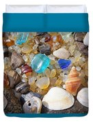 Sea Shells Art Prints Blue Seaglass Sea Glass Coastal Duvet Cover