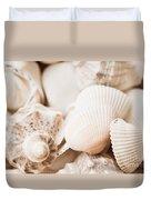 Sea Snails And Molluscs Empty Shells Sepia Toned  Duvet Cover