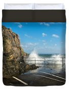 Sea Spray At Mevagissey Harbour Duvet Cover