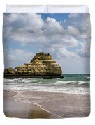 Sea Stack Sculpted Like A Ship Riding The Waves Duvet Cover