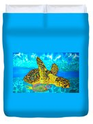 Sea Turtle And Parrotfish Duvet Cover