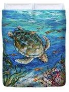 Sea Turtle Dive Duvet Cover
