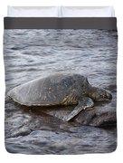Sea Turtle On Rock Duvet Cover
