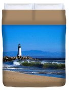 Seabright Beach Lighthouse With Surf Duvet Cover