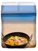 Seafood Paella In Cafe Duvet Cover